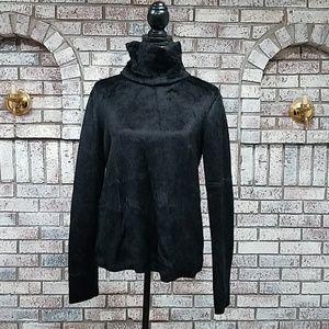 Zara black high neck fur sweater size medium